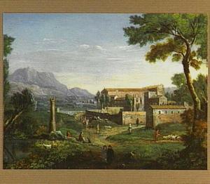 Italiaans landschap met gebouwencomplex en figuren