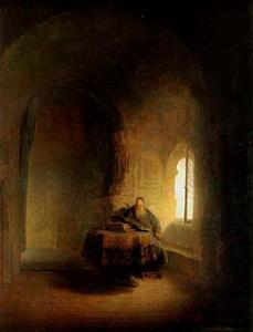 Een oude geleerde in een gewelfde ruimte