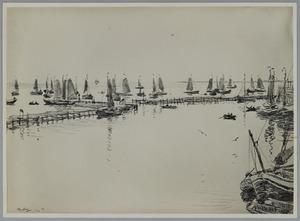 Voor de haven van Volendam