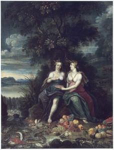 Twee allegorische vrouwenfiguren voor Water en Aarde in een landschap