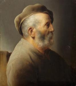 Portret van een oude man met grijze baret