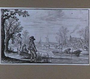 Hengelaars aan de oever van een rivier