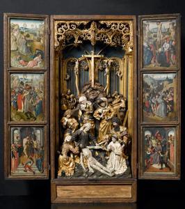 Christus in Gethsemane, de gevangenneming van Christus, de geseling van Christus (binnenzijde linkerluik); De bewening (middendeel); De bespotting van Christus, de kruisdraging, de kruisiging (binnenzijde rechterluik)