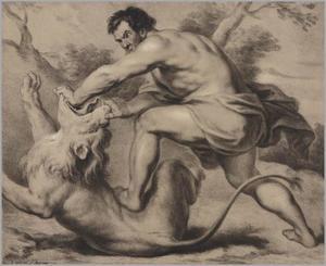 Simson doodt de leeuw bij Timna met zijn blote handen  (Richteren 14:5-6)