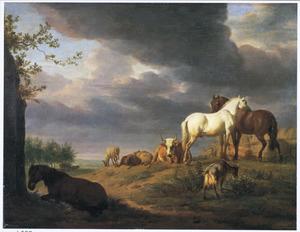 Landschap met paarden en ander vee