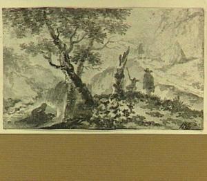 Heuvellandschap met figuren