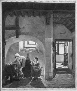 Vrouw die een stenen kruik vult in een kelder, met naast zich een klein meisje met een mand appelen