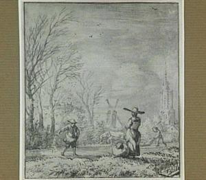 Landschap met ploegende en zaaiende boeren (allegorie op een maand of seizoen?)