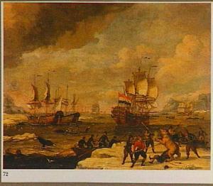 Walvisvaart met in de voorgrond een berenjacht op het ijs