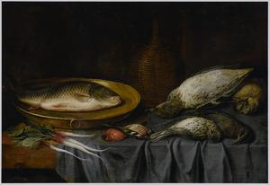 Stilleven van vis en gevogelte