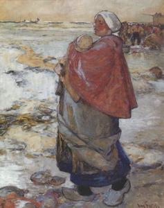 Moeder met kind op het strand