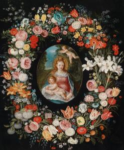 Maria met kind en putto in een bloemenkrans
