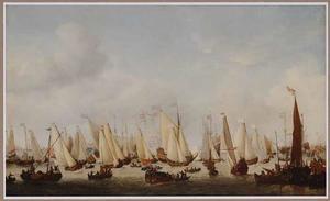 Het Hollandse jacht 'Maria' en andere vaartuigen voor Amsterdam