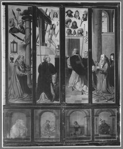 De Mis van de H. Gregorius (buitenzijde linker- en rechterluik); Vier heiligen (predellaluiken)