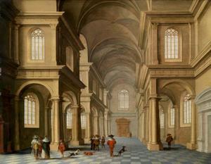 Interieur van een classicistische kerk met bezoekers