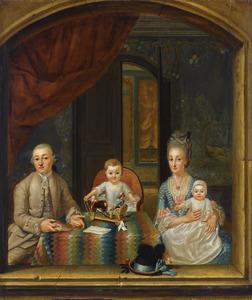 Portret van een familie in een venster