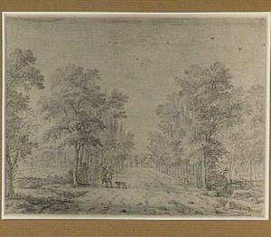 Landweg met figuren, in de achtergrond een poortgebouw