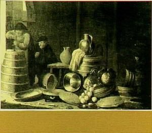 Boerderijstilleven met karnende boerin