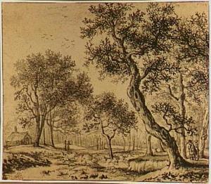 Boslandschap met figuren op een pad