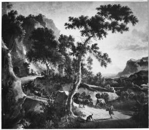Zuidelijk berglandschap met herders en koeien bij een brug