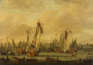 Spiegelgevecht tussen Engelse en Hollandse schepen op het IJ voor Amsterdam
