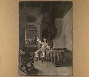 Interieur met een rokende en wijndrinkende man