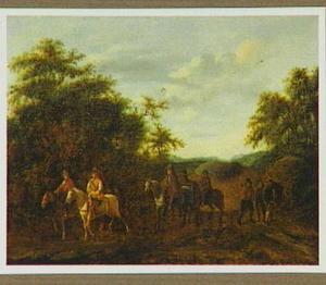 Boslandschap met ruiters op een landweg