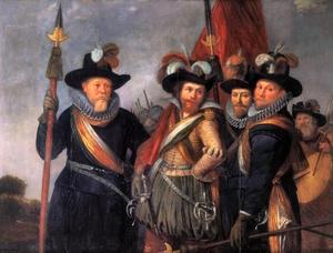 De hoofdofficieren van het Oranje Vendel met Willem Jacobsz. Delff (1580-1638) als vaandeldrager