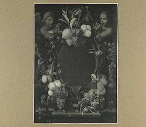 Cartouche versierd  met  vruchten rond een leeg medaillon