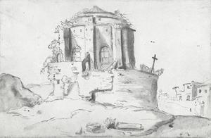 Gezicht op de ruïne van de Santa Maria della Febbre, Rome