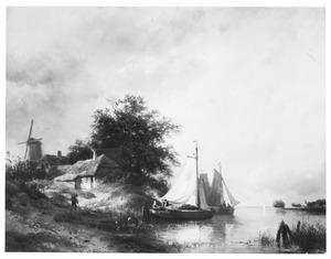 Landschap met zeilboot en molen