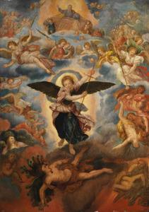 De strijd tussen aartsengel Michaël en Satan (Openbaringen 12:7-9)
