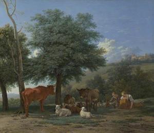 Dieren in de schadus van een boom met een herdersjongen en een slapende herderin