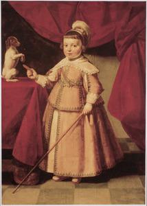 Portret van een onbekende jongen met een hondje