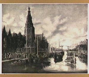 Inschepen van compagnietroepen bij de Montelbaanstoren te Amsterdam
