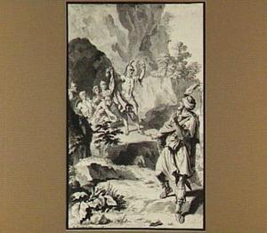 David toont een slip, die hij in de grot  van Saul's mantel heeft afgeknipt (1 Samuel 24:8-13)