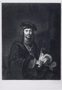 Zittende man met zwaard en baret