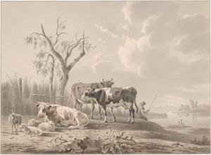 Landschap met vee en een visser; in de achtergrond de ruïne van het Huis te Merwede bij Dordrecht