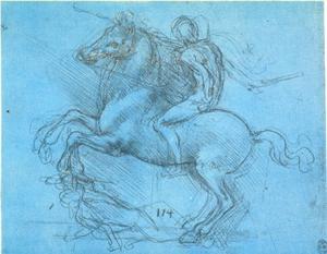 Ruiter vertrapt een gevallen vijand, studie voor het Sforza monument