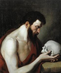 Man met schedel en bijbel