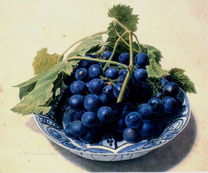 Een tros blauwe druiven op een Chineese schaal