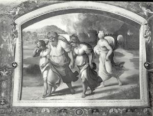 Lot en zijn gezin vluchten uit Sodom en Gomorra; zijn vrouw kijkt om en verandert in een zoutpilaar (Genesis 19:24-29)