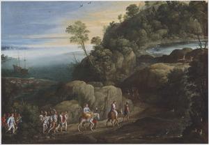 Weids bergachtig kustlandschap met de ontvoering van Theagenes en Chariklea, in de achtergrond de schipbreuk (Heliodorus, Aethiopica)