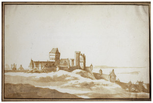 De Valkhofburcht en de oostelijke stadsmuur vanuit het oosten