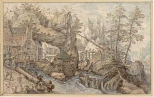 Bergachtig landschap met watermolen en beek