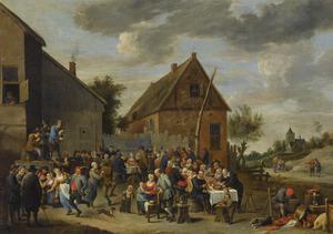 Boerenhuwelijk in een dorp
