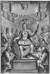 Minerva als beschermster van de schilder- en tekenkunst, met portretten van acht Utrechtse schilders