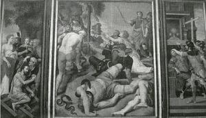 Drieluik met de Kruisvinding (links binnenzijde), H. Petrus-Thomas (links buitenzijde), de Kruisoprichting (rechts binnenzijde), H. Petrus met stichter (rechts buitenzijde), de Aanbidding van de koperen slang (Numeri 21:9) (middenpaneel)