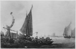 Vissersboten bij een landtong