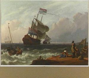 Een oorlogsschip  in woelig water met vissers op de voorgrond